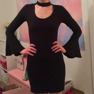 H&M Divided Choker Bell Sleeve Bodycon Dress, 6